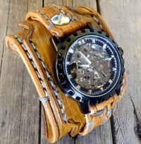 Steampunk leather watch cuff