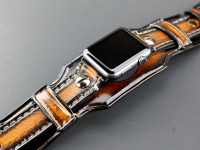 Leather Apple Watch Cuff, Aged Brown