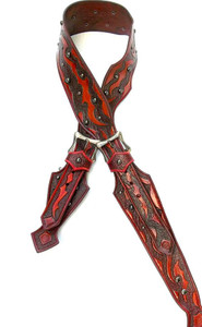 Red Handtooled Leather Guitar Strap