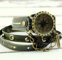 Army Green Leather Wrist Watch with Bullet Charm
