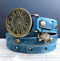 Denim Blue Women's Leather Wrist Watch with Turtle Charm