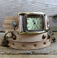 Antique Leather Wrap Watch for Women - Sand Color,