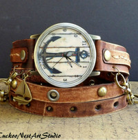 Brown Nautical Leather Wrap Watch with Ship Charm