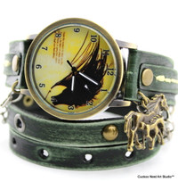 Horse Leather Wrap Watch in Distressed Green Color