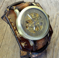 Steampunk Leather Wrist Watch with Customizable Tags