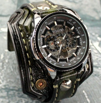 Burnt Looking Steampunk Leather Wrist Watch-Green