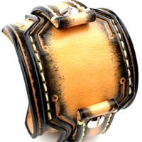 Custom Leather Watch Cuff-Bright Yellow with Darkened Edges