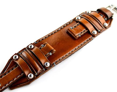 Three Strap Leather Watch Band-Medium Brown