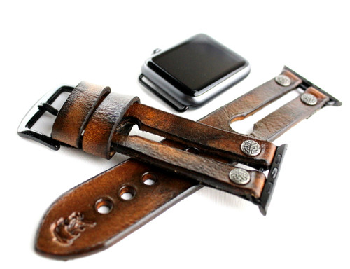Antique Brown Leather Apple  Watch Strap