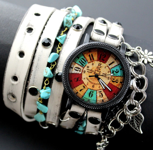 Distressed White Bohemian Watch with Chains and Charms