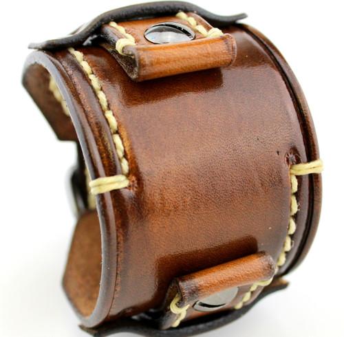 Aged Brown Custom Leather Watch Cuff - US044