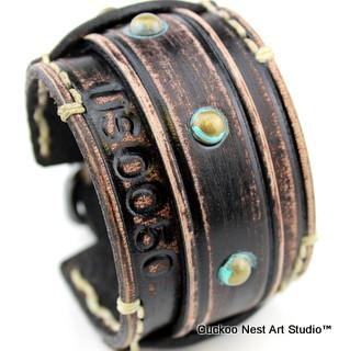 Distressed Black Leather Bracelet with Tarnished Rivets