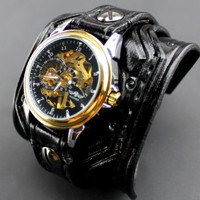 Black and Gold Steampunk Leather Watch Cuff