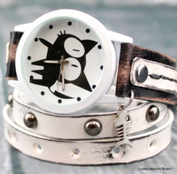 Cat Watch-Black and White Cat Watch-Cat Lovers Gift