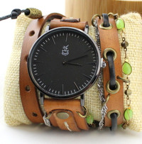 Brown leather wrap watch with green chain