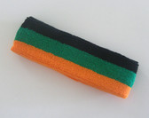 Black green light orange stripe terry sport headband for sweat