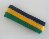 Navy yellow green stripe terry sport headband for sweat
