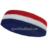 American Flag Color Striped Terry Sport Headband for sweat (Blue / White / Red)