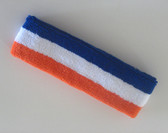 Blue white orange stripe terry sport headband for sweat