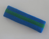 Blue green blue stripe terry sport headband for sweat