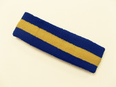 Blue yellow blue stripe terry sport headband for sweat