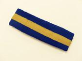 Blue yellow blue stripe terry sport headband for sweat