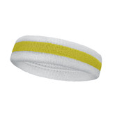 White Yellow white stripe terry tennis headband for sweat