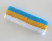 Sky blue golden yellow white stripe terry sport headband