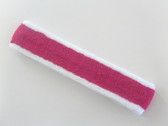 White hot pink white striped tennis headband terry long