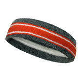 Dark gray dark-orange with white lines basketball headband pro