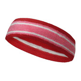Red pink with white lines basketball headband pro