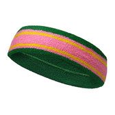 Green pink with yellow lines basketball headband pro