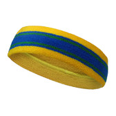 Yellow blue with green lines basketball headband pro
