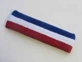 Blue white red striped headband sports pro