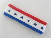 Red white blue stripes with stars headband sports pro