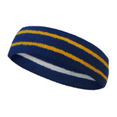 Blue basketball headband pro with 2 yellow stripes