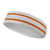 White basketball headband pro with 2 orange stripes