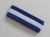 Blue white blue striped terry sport headband for sweat
