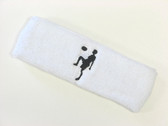 White custom sport headband sweat terry