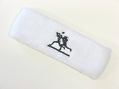 White custom sport sweat headbands terry