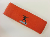 Dark orange custom sports headband sweat terry