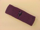 Purple custom sport headband sweat terry