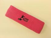 Brigth pink custom sport head band sweat terry