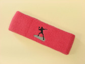 Brigth pink custom sports headband sweat terry