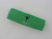 Bright green custom sports head band sweat terry