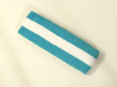 Sky blue white sky blue striped terry sport headband for sweat