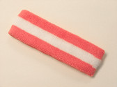 Pink white pink striped terry sport headband for sweat