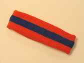 Dark orange blue dark-orange striped terry sport headband for sweat