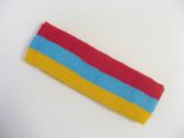 Red sky blue yellow stripe terry sport headband for sweat