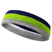 Silver grey lime green purple striped headband sports pro